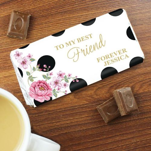 Personalised Floral Dot Chocolate Bar